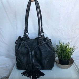Black French Connection Faux Leather & Sue…